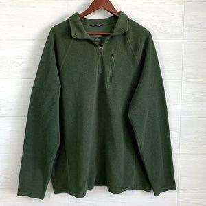 LL Bean XL Tall Olive Army Green 1/4 Zip Fleece
